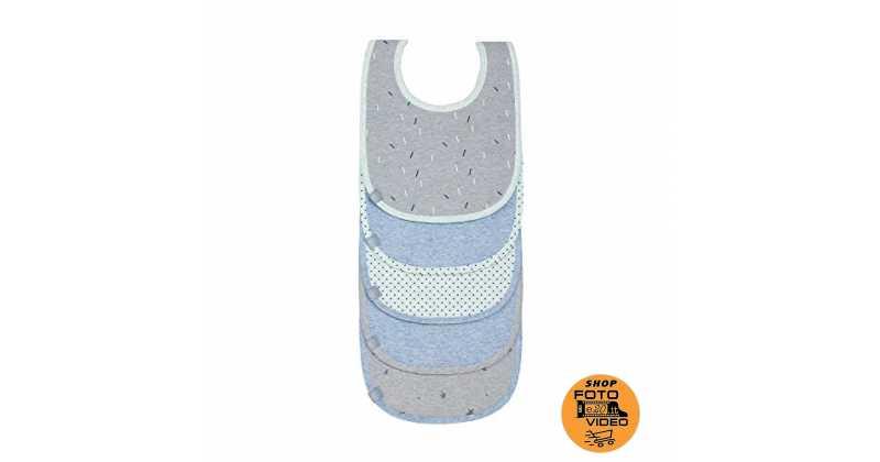 Grigio e bianco Bavaglini Neonato 8-Pezzi con Bottoni Automatici Regolabili Unisex Assorbente in Morbido Cotone MUBYTREE