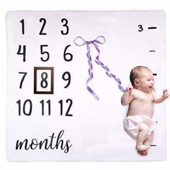 ANSUG Coperta Bambino Mesi Mensile Flanella Fotografia di Sfondo Prop Foto Adesivi mensili e Corona per Neonato Ragazzi Ragazze Baby Shower Coperta Milestone Neonato