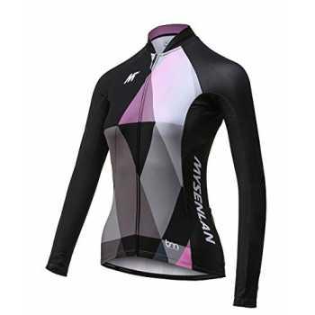 maglia da ciclismo da donna rosa Gwell traspirante pantaloni da ciclismo con imbottitura maglia a maniche lunghe