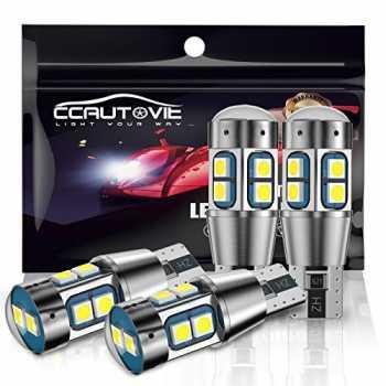 Lampadine LED senza errori Canbus T10 Per luci targa Cupola Mappa Porta Confezione di cortesia da 6 CCAUTOVIE 194 168 T10 W5W Lampadine LED per interni auto