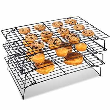 Scaffale di raffreddamento a 3 livelli vassoio per griglia di cottura antiaderente per biscotti Pane per dolci Pieghevole Scaffale di raffreddamento e cottura in acciaio inossidabile