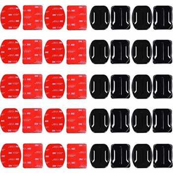 POKIENE Adesivi Adesivi per Caschi 18 Curve e 18 Appartamenti per Videocamera Sportiva Adesivo per Montaggio Action Camera DV Supporto Adesivo Curvo e Piatto per Go PRO Hero 1//2//3 // Suptig